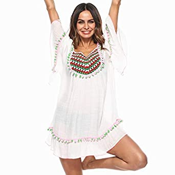 bac2011575915 Sunnymyheart Women s Beach Cover Up Swimsuit Cover Up Crochet Beachwear Bathing  Cover Up Beach Dress (