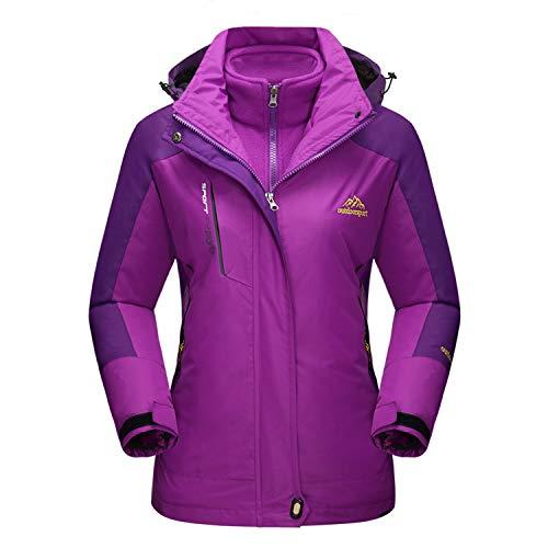 (MAGCOMSEN Winter Jacket Women Hiking Jacket Soft Shell Jacket 3 in 1 Coat Rain Jacket for Women Purple)