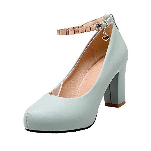 Talon Rond Légeres Femme À Bleu Mosaïque Agoolar Haut Boucle Chaussures Cuir Pu 1IZq4Rnw