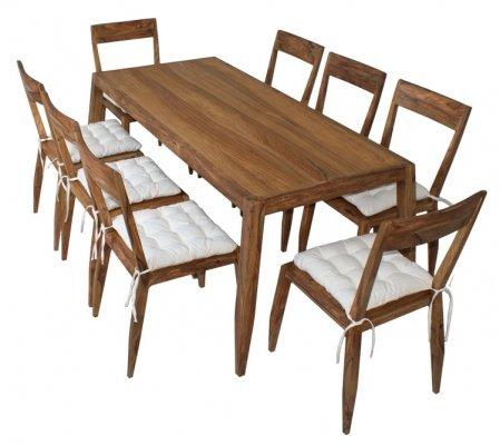 Massivholz Essgruppe für 8 Personen aus Palisander mit 8 Stühlen
