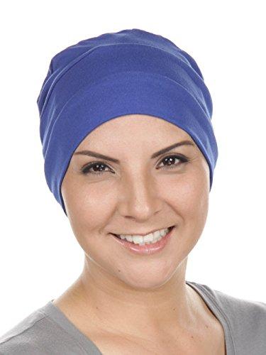 Chemo Cap Womens Cotton Beanie Sleep Turban Hat Headwear for Cancer Royal Blue