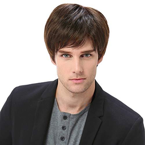 Short Brown Halloween Wig (Baruisi Mens Short Brown Wig Natural Hair Replacement Synthetic Costume Halloween Full)