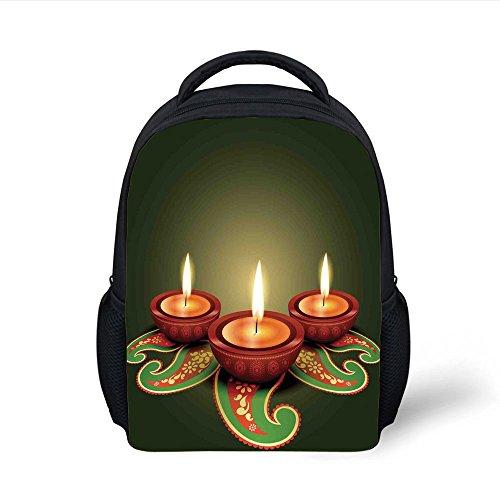 iPrint Kids School Backpack Diwali,Paisley Design Tribal Festive Celebration Diwali Candles Burning Artwork Print Decorative,Green and Brown Plain Bookbag Travel Daypack by iPrint