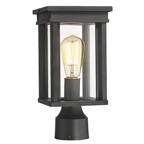 Zeyu Outdoor Post Lantern, Exterior Post Light Pillar Light with Clear Glass Shade and Black Finish, 02A30P BK