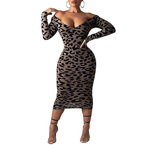 Kumono Women's Sexy Deep V Neck Leopard Print Strapless Shoulder Zipper Bodycon Dress