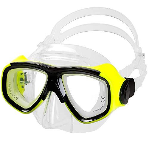 IST RX Prescription Scuba Diving Mask (Neon Yellow, Nearsight -3.5)