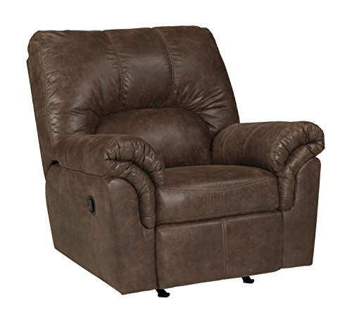 Brown Rocker Upholstered (Ashley Furniture Signature Design - Bladen Contemporary Plush Upholstered Rocker Recliner - Pull Tab Reclining - Coffee Brown)