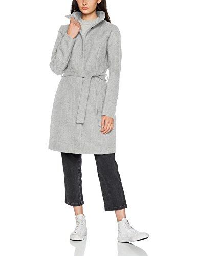 Vila Vibee Wool Coat-Noos, Abrigo para Mujer Gris (Light Grey Melange Light Grey Melange)