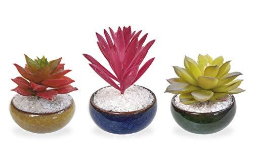 Conjunto 3 Suculenta Arranjo Flor Artificial Vaso Cerâmica