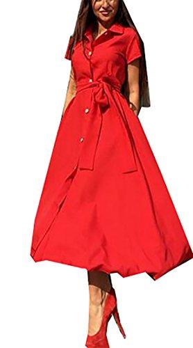 Bouton De Ceinture À Manches Courtes Élégante Des Femmes Cromoncent Basculer Vers Le Bas Rouge Robe Midi