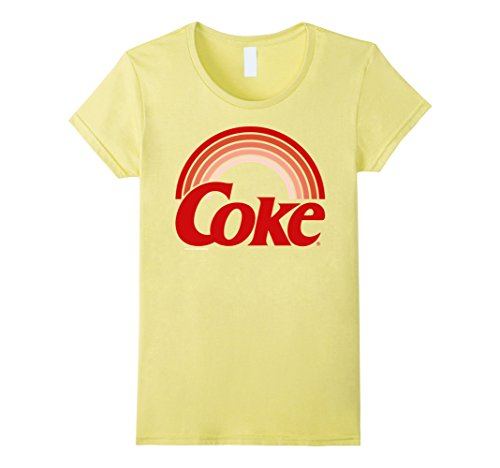 Sunset Yellow T-shirt - Womens Coca-Cola Retro Sunset Rainbow Coke Graphic T-Shirt Medium Lemon
