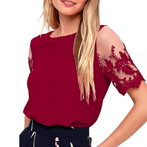 Shy Velvet Women's Lace Sleeve Top Chiffon Blouses Shirts ()