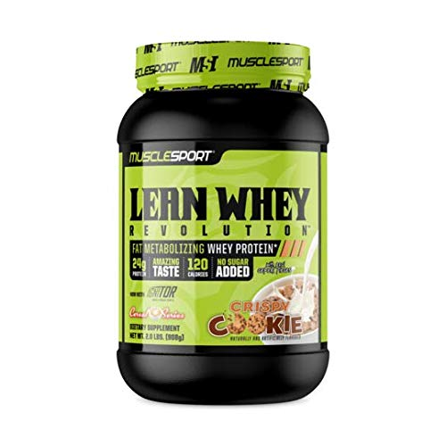 MuscleSport Lean Whey RevolutionTM (2LB, Crispy Cookie Cereal) Protein Powder, Whey Protein Isolate, Fat Burning, Weight Loss, Low Calorie, Low Carb, Low Fat, Incredible Flavors (Best Whey Protein Isolate For Weight Loss)