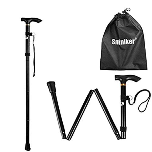 SMINIKER Professional Folding Walking Canes with Carrying Bag Lightweight Adjustable Canes and Walking Sticks for Men and Women with Wrist Strap Aluminum Alloy Shaft (Black) ()