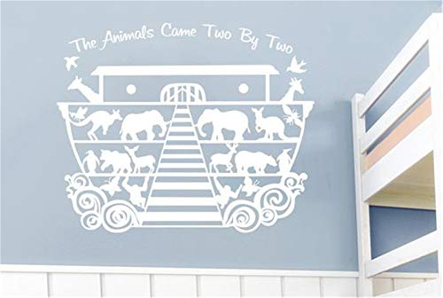 Siertz Wall Stickers Art Decor Decals Noah's Ark The Animals Came Two by Two for Nursery Kid Bedroom -