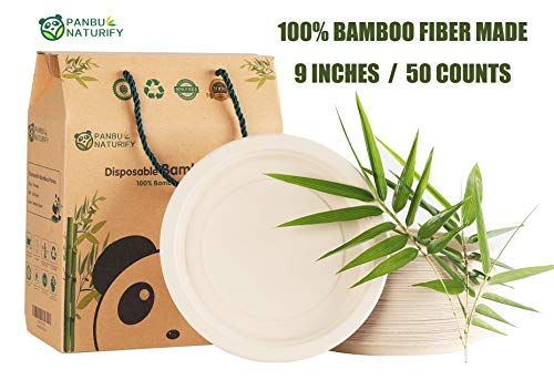 Bamboo Fiber Disposable Plates Set, 9 Inches, 50 Pack, Round, Made from Organic Bamboo Fiber, Biodegradable and Compostable, Eco-friendly Tableware Utensils for Shower, Party, Wedding, Camping