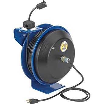 Coxreels EZ-Coil Safety Series Power Cord Reel with Single Receptacle - 50 Ft., Model# EZ-PC13-5012-A
