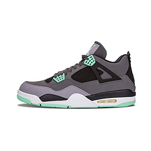 new style 9d3b6 e7e80 ... uk nike mens air jordan 4 retro dark grey green glow cement grey  leather basketball shoes