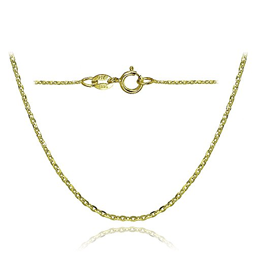 Bria Lou 14k Yellow Gold 1.4mm Italian Diamond-Cut Cable Chain Necklace, 16 Inches by Bria Lou