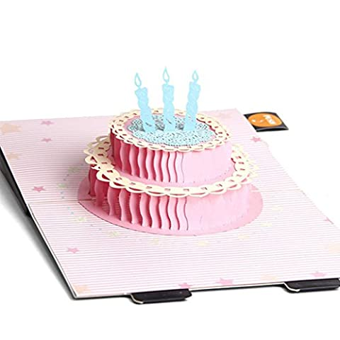 Bettal 3D Paper Pop up Cake Candle Greeting Card Christmas Wedding Birthday Invitation (Push Button Sound Maker)