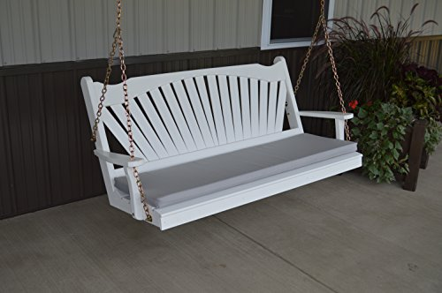 Classic Outdoor 6 Foot Fanback Porch Swing - Painted- Amish Made USA -White