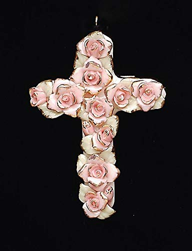 Pink Rose Fine Porcelain - Cosmos Gifts Fine Porcelain Pink Roses with Gold Accents Cross Pendant Figurine, 2-1/2