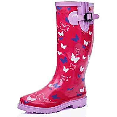 FUNKY PINK BUTTERFLY FESTIVAL WELLIES WELLINGTONS BOOTS SIZE 7
