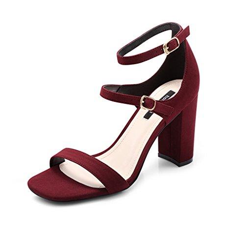 Hoved farve Rødvin Høj Hæl Hæle Firkantet Rem Sommer Damesko Størrelse Sandaler Zcjb 39 Tykke qxPXz6wv