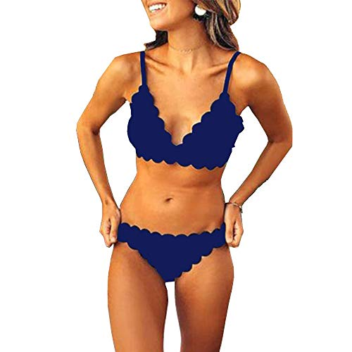 Women Two Pieces Classic Scallop Bathing Suits Sexy V Neck Bikini Set Swimsuits (S, Navy Blue)
