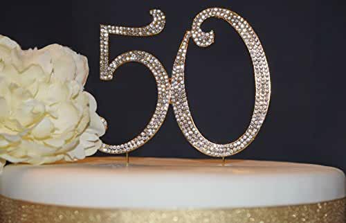 50 Cake Topper GOLD - Golden Anniversary or Birthday Premium Rhinestone Cake Topper Decoration for Your Party (GOLD)