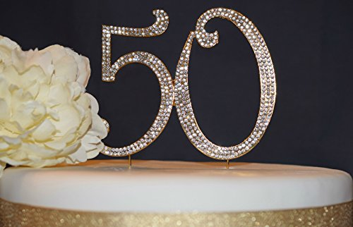 | Premium Sparkly Crystal Rhinestones | 50th Birthday or Anniversary Party Decoration Ideas | Perfect Keepsake (50 Gold) (Golden Cake)