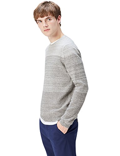 find. Men's Sweater with Ombre Cotton Knit, Grey (Grau), Small