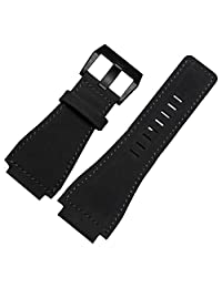Black Leather Watch Strap 24mm Suitable BR01 BR03 Bell&Ross MILITARY Band Black Buckle