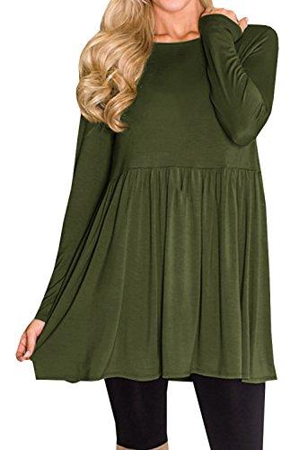 Chuanqi Womens T Shirt Dress Long Sleeve Swing Dresses Pleated Babydoll Tunic Tops