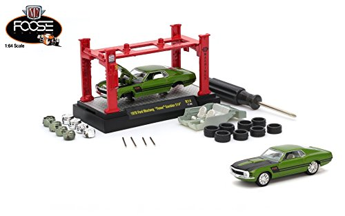 Foose Ford Mustang - M2 Machines 1970 Ford Mustang Foose Gambler 514 (Lime Pearl Body w/Flat Black Stripes) 2017 Model Kit (Release 14) 1:64 Scale Die-Cast Vehicle & Auto-Lift Building Set (R14 17-09)