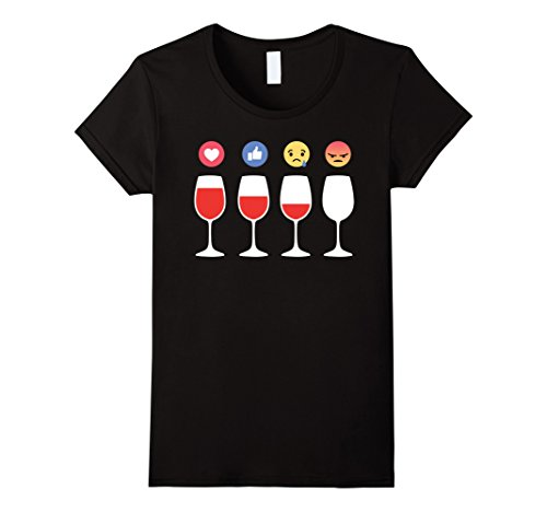 Womens Emoji Wine Lovers Drinking Winery T-Shirt - Funny Small Black