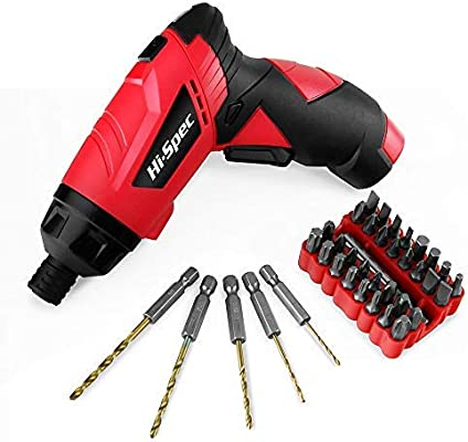 Hi-Spec 3 6v Cordless Screwdriver Set with 8 Torque Settings up to 3 5Nm,  2-Position, Rechargeable 1300mAh Battery, LED, Quick-Bit Release & 33 pc