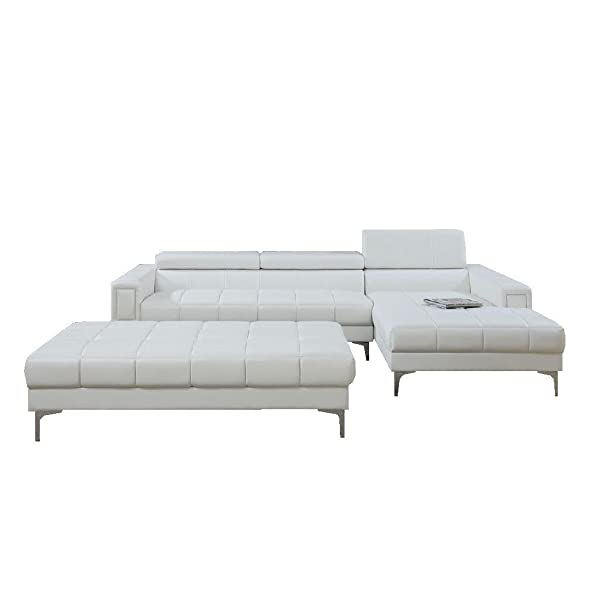 3Pcs Modern Contemporary Bonded Leather Sectional Sofa with Oversize Ottoman (WHITE)