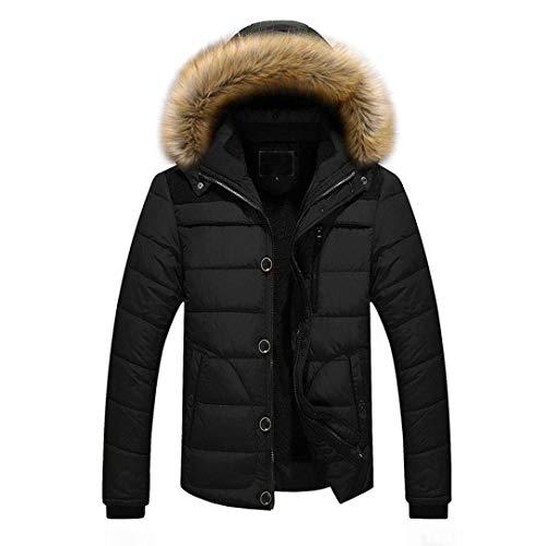 Thick Solid Fur Longsleeve Men Apparel Warm Winter Jacket Coat Hooded Outerwear Leisure Jacket Oversize Collar Schwarz Color Transition vwrYFv