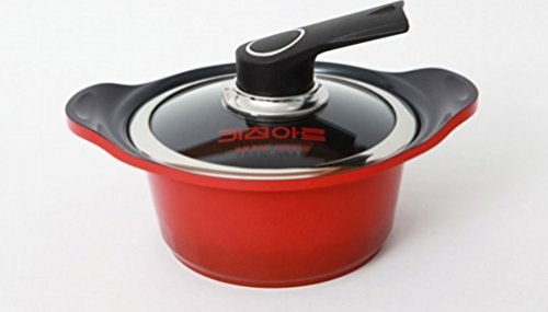 Kitchen Art S16 Ceramic Pot, Specialty Nonstick Dishwasher Safe,Pan with Glass Lid Cookware, Red
