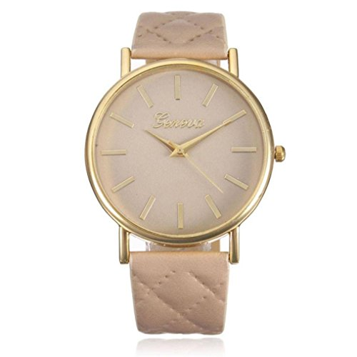 Women's Watch,Balakie Fashion Women Simple Geneva Roman Analog Quartz Wrist Watch with Leather Band (Beige, alloy)
