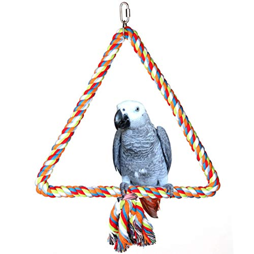 (Spoiled Pet Large Triangle Cotton Bird Rope Swing Perch - Made with All Natural Materials - Safe to Climb and Chew - Great for African Grey Parrots, Cockatiels, Parakeets, and Cockatoos)