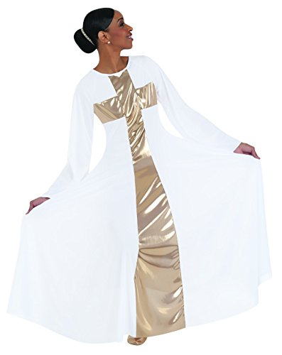 Body Wrappers 620 / 620XX Womens Praise Dance Cross Components Long Dress (Medium, White w/ Gold)