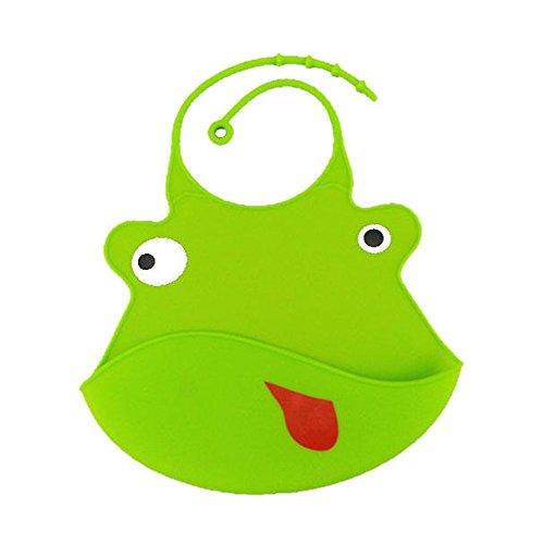 Bib For Kids - Waterproof Bibs For Kids - Cartoon Animal Kids Silicone Bib Baby Children Adjustable Waterproof Bib Baby Feeding Tools Crumb Catcher - Green (Silicone Bib Baby) - Patricks Baby Bib