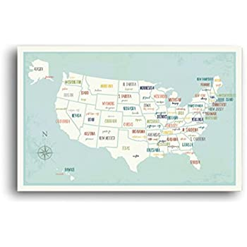 Amazoncom My Travels Personalized USA Map X Wall Art Print - Children's maps to print