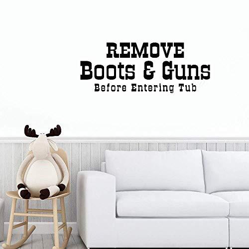 Wall Stickers Art Home Decor Wall Decals Vinyl Words Sayings Remove Boots Guns Before Entering Tub Washroom Bathroom ()