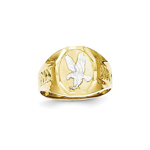 Size 10 - Solid 10k Yellow and White Gold Two Tone Men's Eagle Ring (15mm)