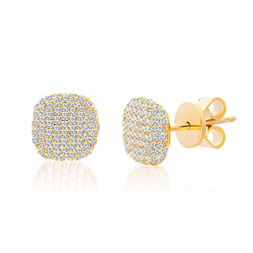 Mia Sarine 14K Gold Plated Silver Cubic Zirconia Pave Cushion Women's Post Stud Earrings
