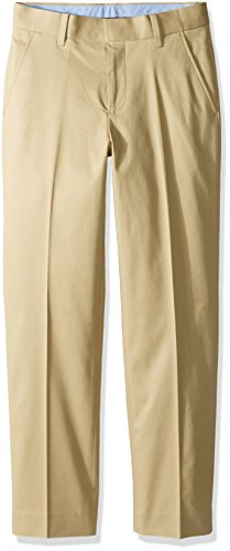 Tommy Hilfiger Big Boys' Fine Twill Pant, Medium Khaki, 14