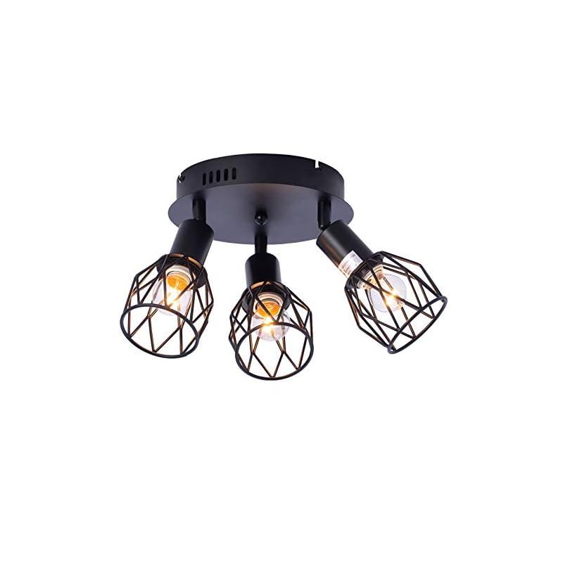 Industrial Semi Flush Mount Ceiling Light, 3-Light Multi-Directional Ceiling Light Fixtures, Vintage Black Metal Wire…